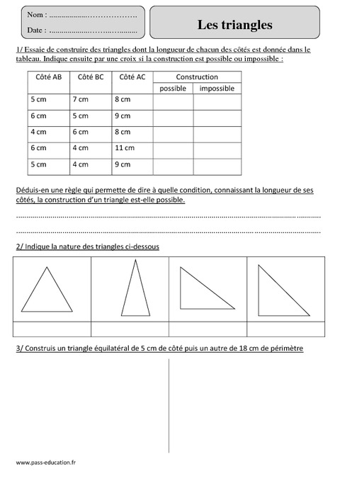 Triangles - Cm2 - Exercices avec correction - Pass Education