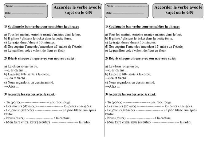 Verbe: Sujet - Groupe Nominal - Ce1 - Exercices à imprimer - Pass Education