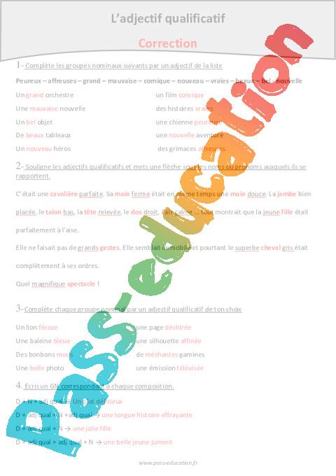 Epithète - Attribut - Adjectif qualificatif - Cm1 - Fiche ...