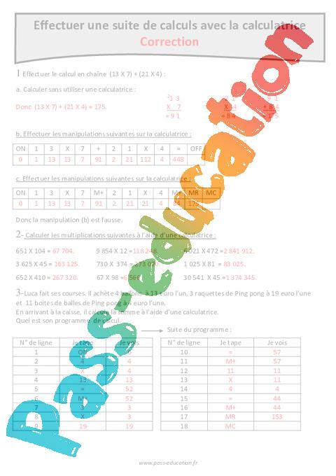calculatrice - suite de calculs - cm1