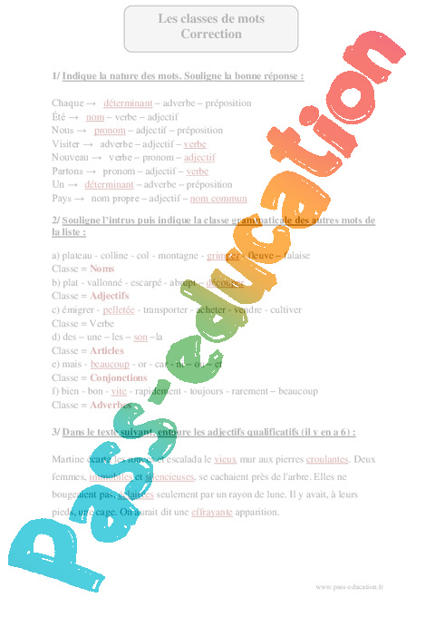 classes de mots cm2 fiche d exercices avec correction pass education. Black Bedroom Furniture Sets. Home Design Ideas
