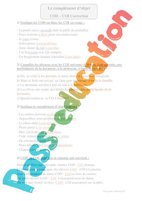 COD - COI - Cm1 - Exercices à imprimer - Pass Education