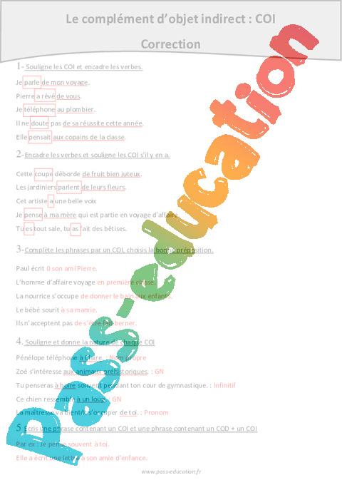 Préposition - Complément d'objet indirect - COI - Cm1 - Exercices à imprimer - Pass Education