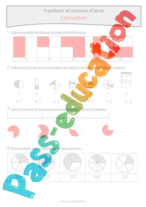 Fractions et mesure d'aires - Cm1 - Exercices corrigés - Pass Education