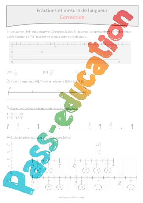 Fractions et mesure de longueur cm1 exercices avec - Fraction cm1 a imprimer ...