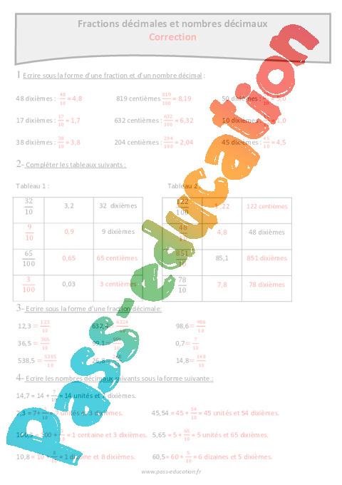 Nombres décimaux et fractions décimales - Cm1 - Exercices ...