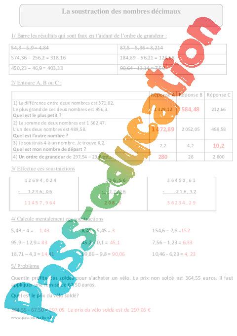 Soustraction des nombres décimaux - Cm2 - Exercices avec correction - Pass Education
