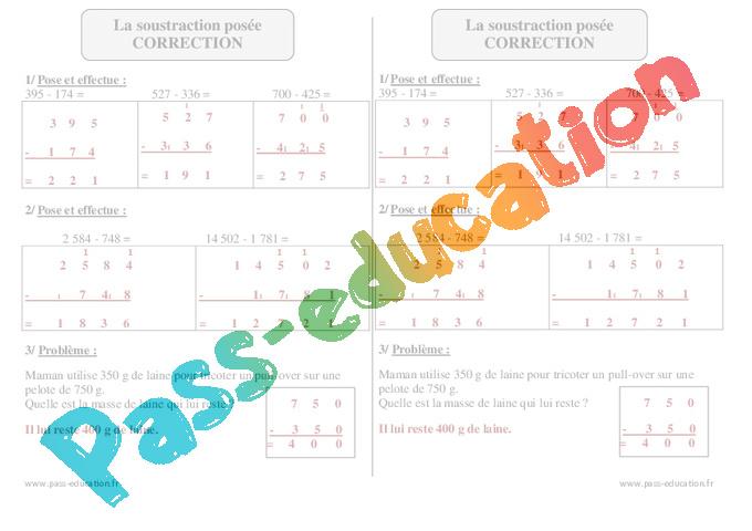 Soustraction pos e ce2 exercices avec correction - Soustraction ce2 ...