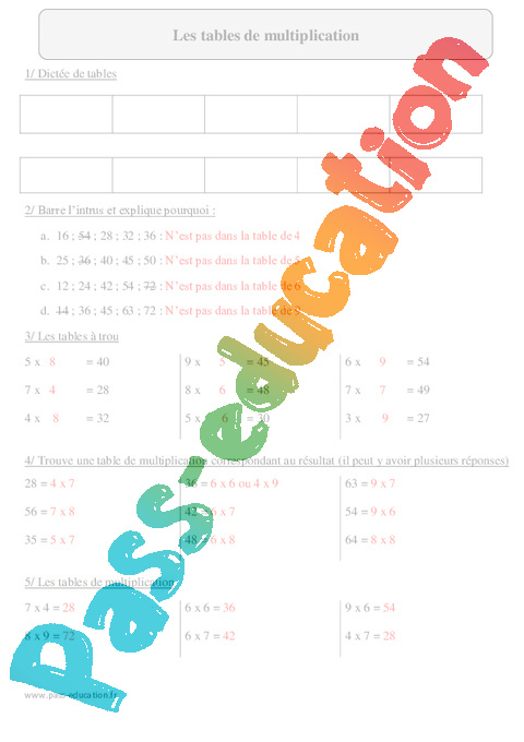 Tables de multiplication cm2 exercices imprimer avec - Table de multiplication de 1 a 10 a imprimer ...