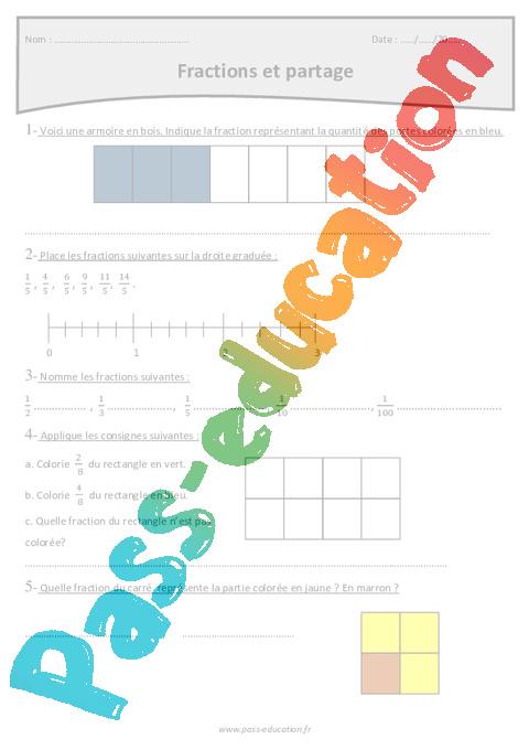 Fractions et partage - Cm1 - Exercices corrigés - Pass ...
