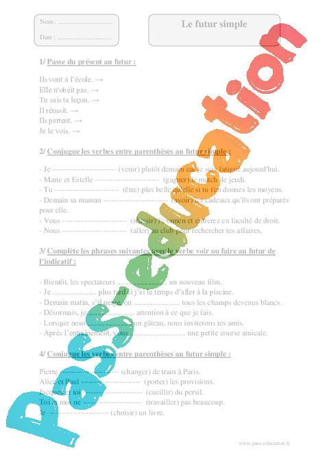 Futur simple - Cm1 - Exercices à imprimer - Pass Education