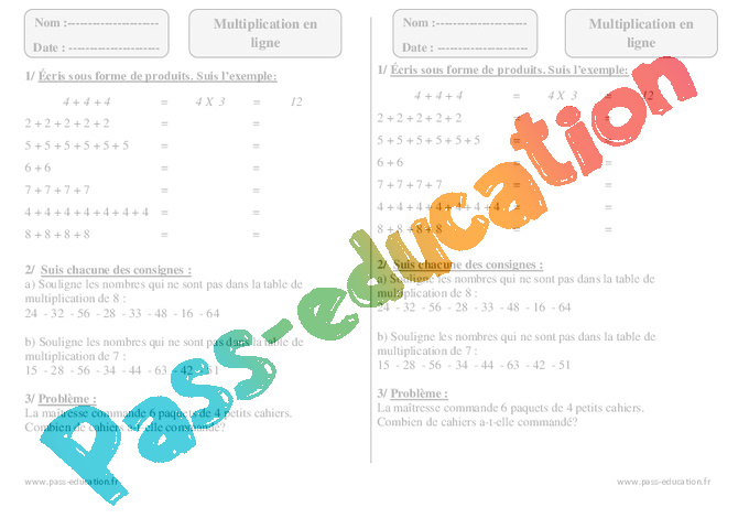 Multiplication en ligne ce1 exercices imprimer pass education - Table de multiplication en ligne ...