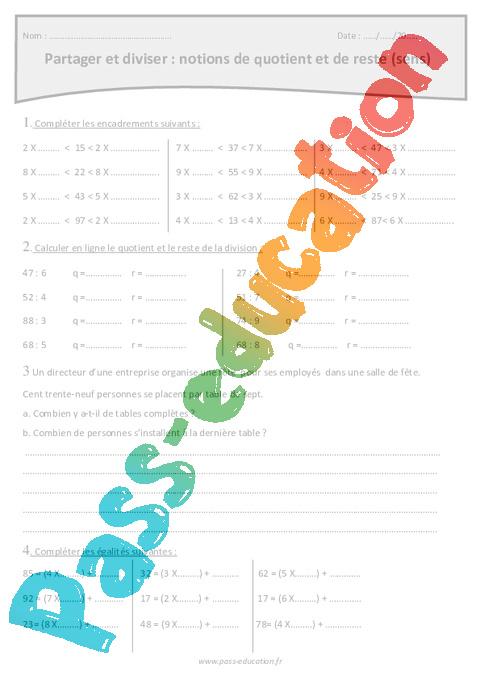Partager et diviser - Notions de quotient et de reste - Cm1 - Exercices sens de la division ...