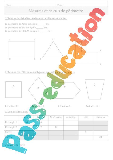 Périmètre - Cm1 - Exercices à imprimer - Pass Education