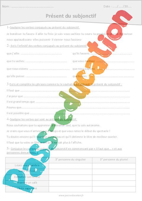 indicatif ou subjonctif present exercise pdf