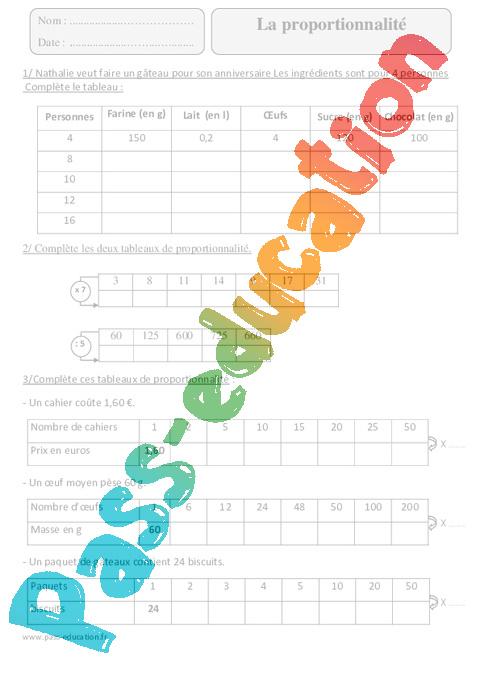 Proportionnalité - Cm2 - Exercices avec correction - Pass ...