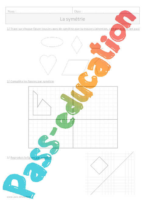Sym trie cm1 exercices avec correction pass education - Symetrie a imprimer ...