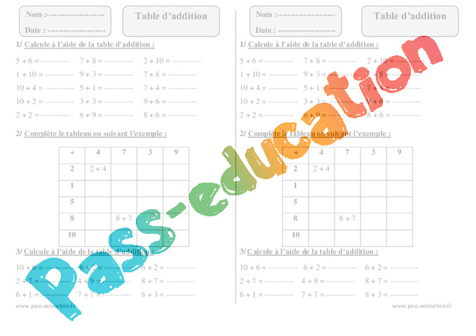 Table d addition ce1 exercices imprimer pass education for Table de 7 et 8