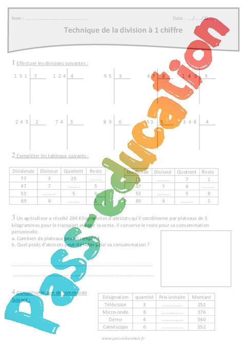 Technique de la division à 1 chiffre - Cm1 - Exercices à ...