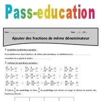 Ajouter des fractions de même dénominateur - Cm2 ...