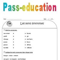 Mots synonymes - Ce1 - Exercices à imprimer - Pass Education 559e1d8a4d8