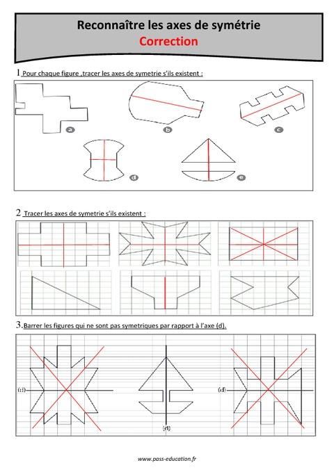 Axes de sym trie reconna tre cm1 exercices corrig s pass education - Symetrie a imprimer ...
