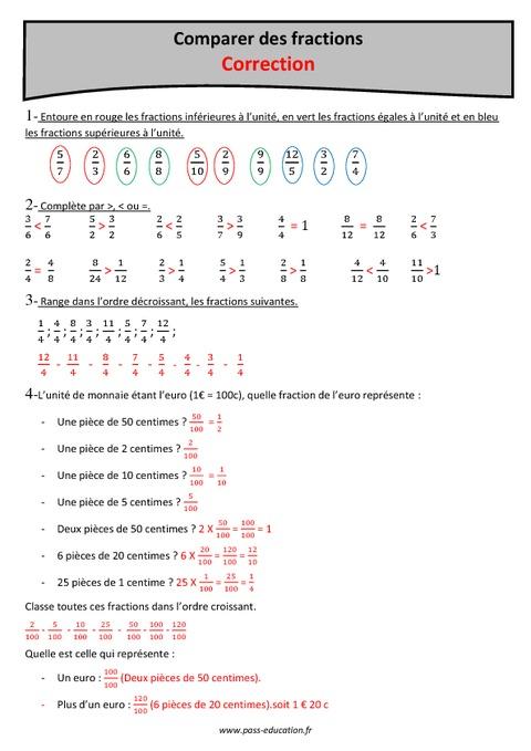 Comparer des fractions - Cm2 - Exercices corrigés - Pass ...