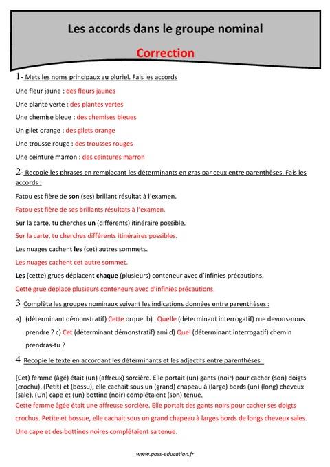 Groupe nominal - Accords - Cm2 - Exercices à imprimer ...