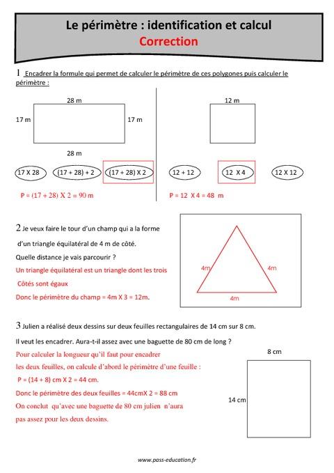 Identification et calcul du p rim tre cm1 exercices corrig s pass education - Calcul de metre carre ...