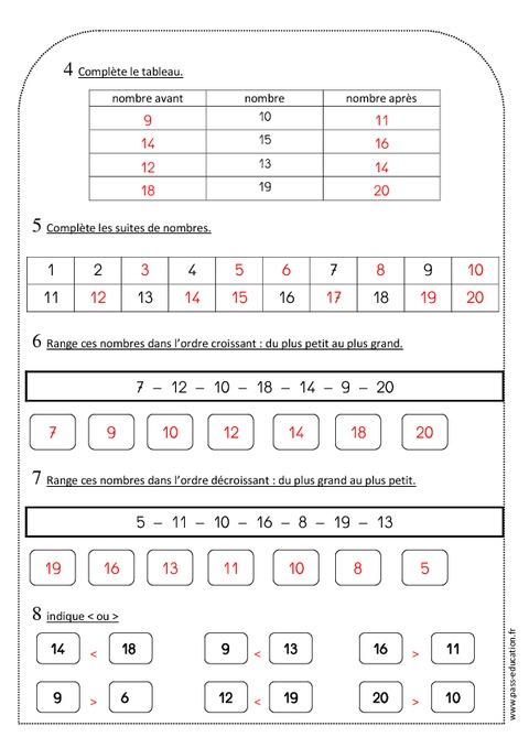 Nombres de 0 20 ce1 exercices sur criture ordre for Le nombre 13 film
