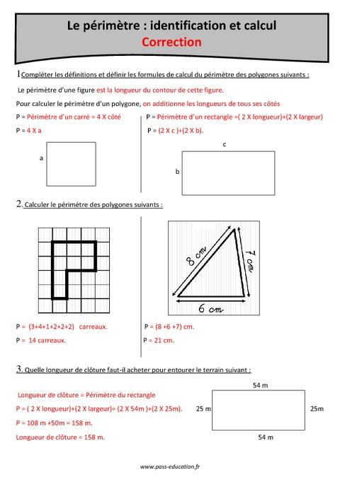 P rim tre identification et calcul cm1 exercices imprimer pass education - Calculer des metre carre ...
