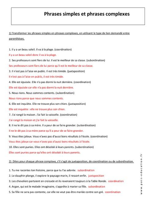 Phrase complexe et simple - 4ème - Exercices avec ...