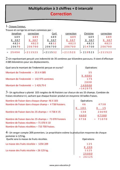 Produit multiplication 3 chiffres 0 intercal cm2 exercices imprimer pass education - Exercice multiplication a imprimer ...