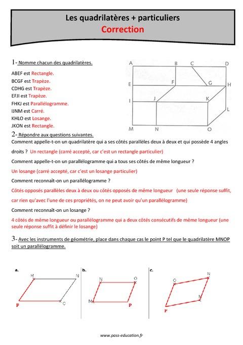 quadrilat res cm2 exercices imprimer pass education. Black Bedroom Furniture Sets. Home Design Ideas