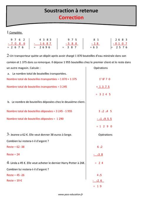Soustractions retenue cm1 fiche de r visions imprimer pass education - Soustraction avec retenue cm1 ...