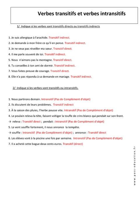 Verbes transitifs et intransitifs - 4ème - Exercices ...