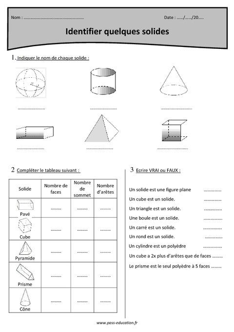 Cylindre, prisme, pyramide, tétraèdre, parallélépipède ...