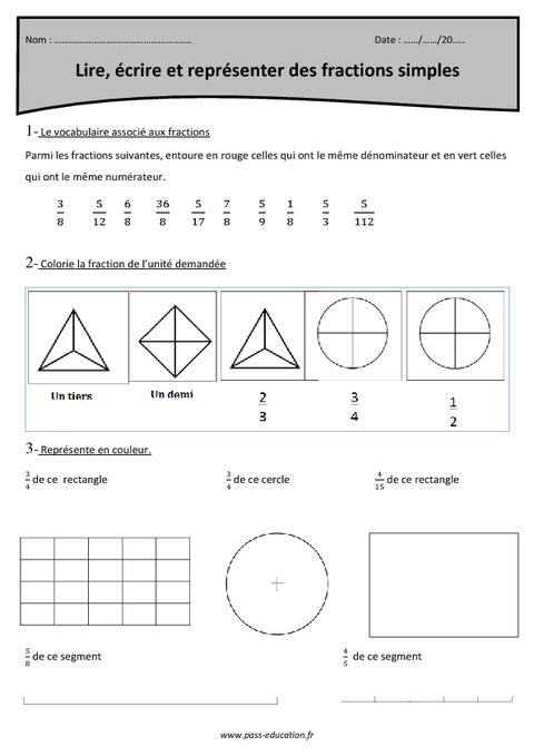 Fractions simples - Lire, écrire et représenter - Cm2 ...