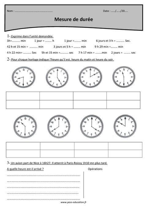 Mesure de durée - Cm1 - Exercices à imprimer - Pass Education