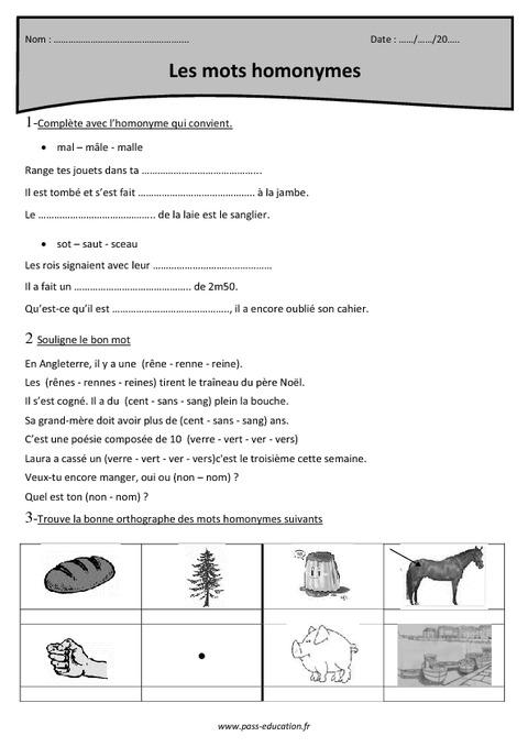 Mots homonymes - Cm1 - Exercices corrigés - Pass Education