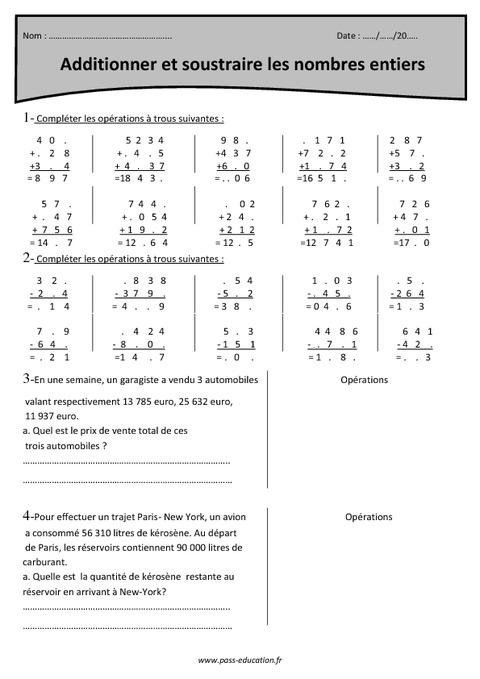 Nombres entiers addition et soustraction cm2 exercices imprimer pass education - Soustraction ce2 a imprimer ...