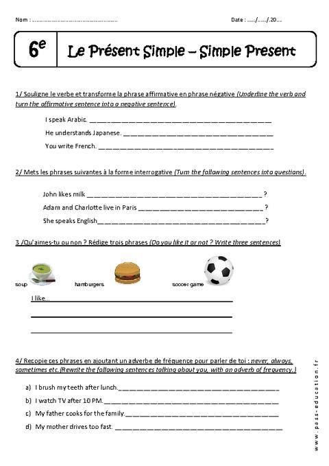 Présent simple - 6ème - Exercices corrigés - Pass Education