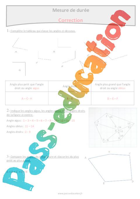 Aigus, obtus ou droits - Cm1 - Exercices sur les angles - Pass Education