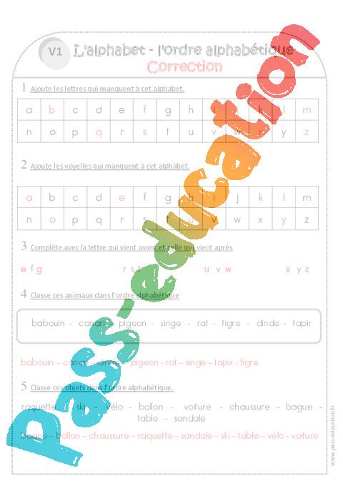 Coloriage Alphabet Ce1.Alphabet Ordre Alphabetique Ce1 Exercices Corriges Pass