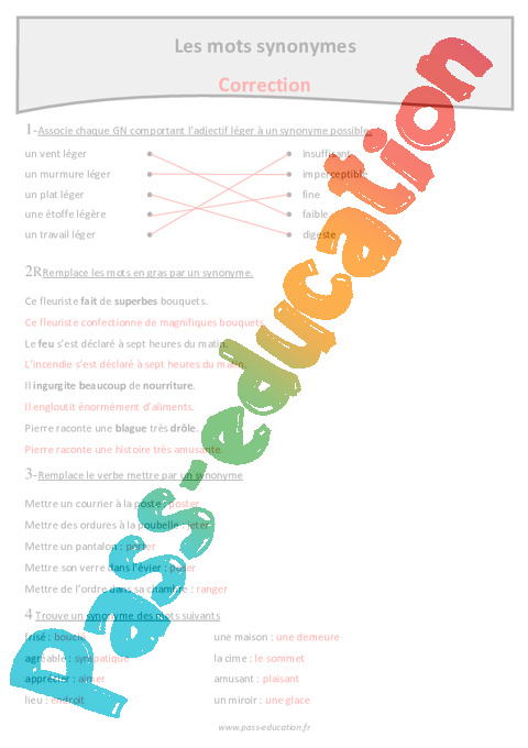 Mots synonymes cm1 exercices avec correction pass for Homonyme du mot farce