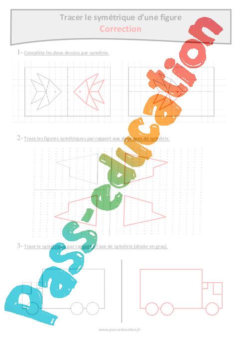 Assez Tracer le symétrique d'une figure - Cm2 - Exercices avec  KV14