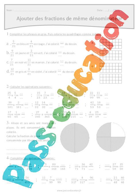 D nominateur fraction cm2 exercices imprimer pass education - Les fractions cm1 exercices a imprimer ...