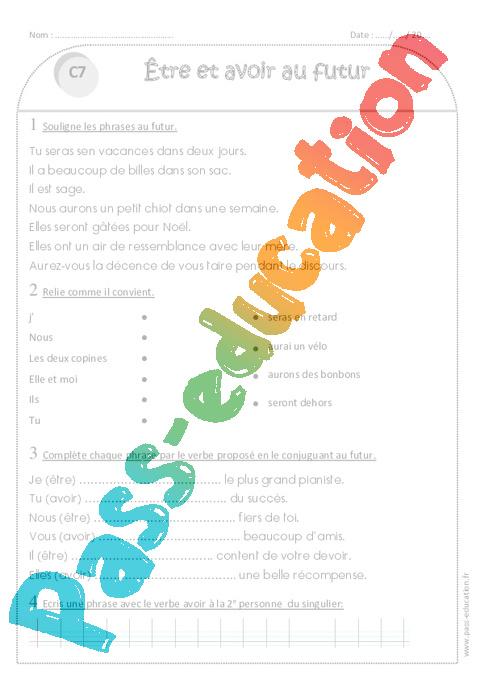 Futur - Etre et avoir - Ce1 - Exercices avec correction - Pass Education
