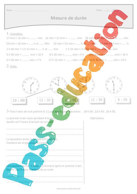 Heure, minute, seconde - Cm1 - Exercices corrigés sur le temps et durée - Pass Education