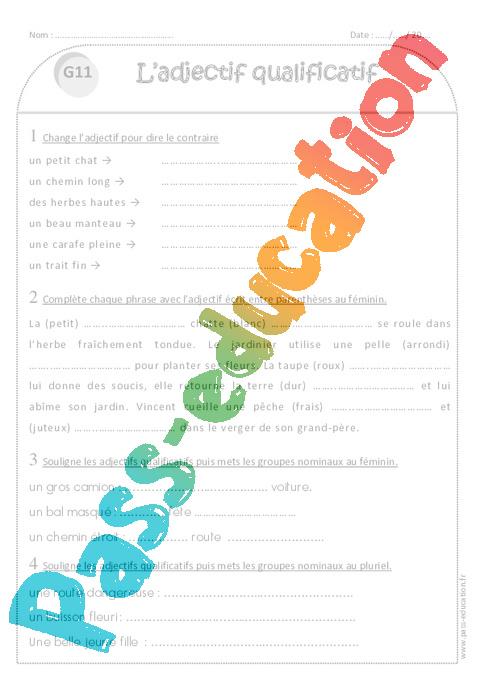 L'adjectif qualificatif - Ce1 - Exercices de grammaire - Pass Education